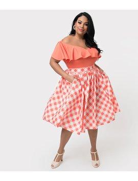Unique Vintage + Pantone Plus Size 1950s Living Coral & White Gingham Swing Skirt by Unique Vintage