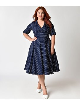 Unique Vintage Plus Size 1950s Navy & White Dot Delores Swing Dress With Sleeves by Unique Vintage