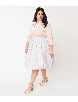 Vintage Style Plus Size Blue & Pink Gingham Pin Dot Pleated Swing Skirt by Unique Vintage