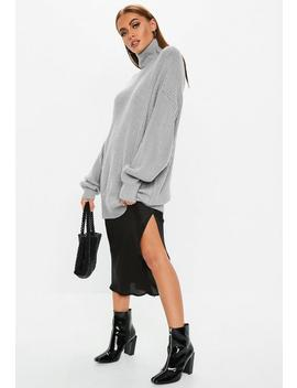 Premium Gray Roll Neck Ribbed Boyfriend Sweater by Missguided