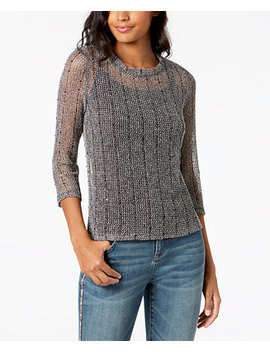 I.N.C. Sequined Open Knit Illusion Top, Created For Macy's by Inc International Concepts