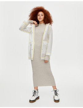 High Neck Ribbed Dress by Pull & Bear