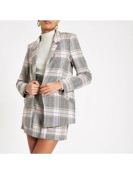 Pink Check Open Front Blazer by River Island
