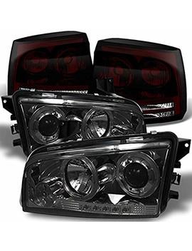 For 2006 2008 Dodge Charger Smoked Halo Angel Eye Led Projector Headlights + Dark Red Smoked Tail Lights Combo by Akkon