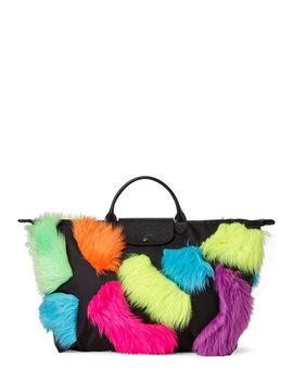 Black Neon Faux Fur Travel Bag by Longchamp X Jeremy