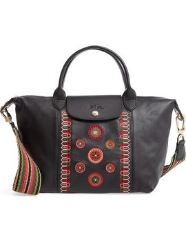 Le Pliage Embroidered Leather Shoulder Bag by Longchamp
