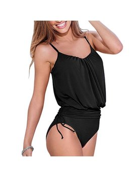 Womens Spaghetti Strap One Piece Monokini Tankini Swimsuit Beachwear Bathing Bikini Swimwear by Womens One Piece Swimsuits