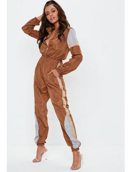 Brown Colourblock Shell Suit by Missguided