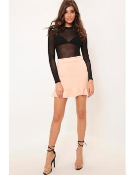 Nude Frill Hem Scuba Skirt by I Saw It First