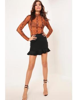 Black Frill Hem Scuba Skirt by I Saw It First