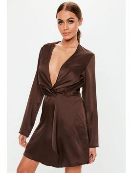 Brown Long Sleeve Satin Twist Mini Dress by Missguided