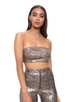 Brown Snake Sequin Bandeau Top by I Saw It First