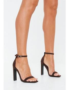 Brown Square Toe Barely There Heels by Missguided
