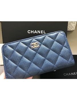 New Chanel 18 S Iridescent Dark Blue Caviar  Small Medium Zip Wallet Card, Lghw by Chanel