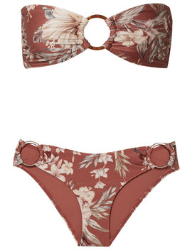 Wayfarer Ring Embellished Floral Print Bikini by Zimmermann