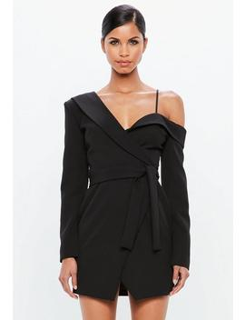 Peace + Love Black One Shoulder Tuxedo Mini Dress by Missguided