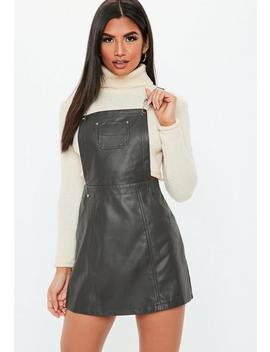 Grey Faux Leather Pinafore Dress by Missguided