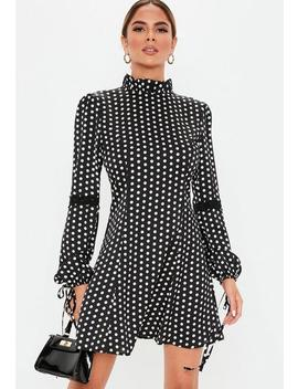Black Polka Dot High Neck Satin Skater Dress by Missguided