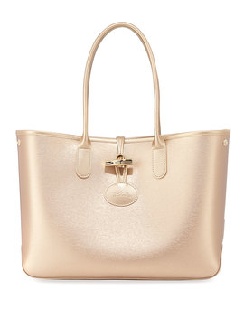 Roseau Metallic Leather Shoulder Tote Bag by Neiman Marcus