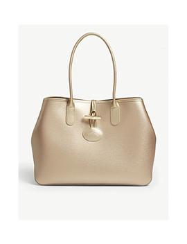Roseau Metallic Leather Shoulder Tote Bag by Longchamp