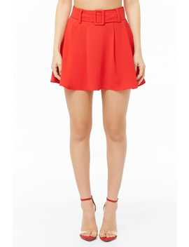 Pleated Belted Skort by Forever 21