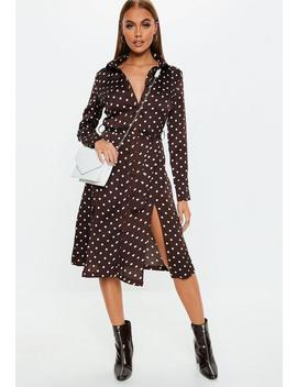 Brown Polka Dot Tie Belt Midi Shirt Dress by Missguided