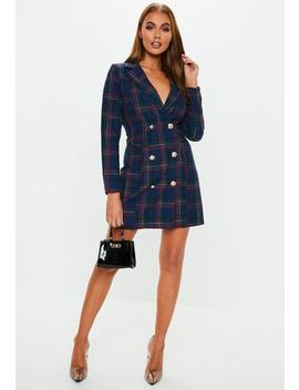 Blue Check Blazer Dress by Missguided