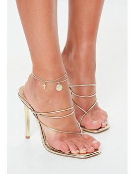 Gold Look Double Row Coin Cross Anklet by Missguided