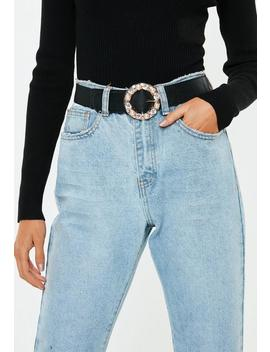 Black Diamante Circle Buckle Belt by Missguided