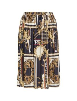 Plus Navy Baroque Pleated Skirt by River Island