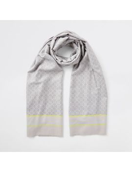 Grey Ri Monogram Print Blanket Scarf by River Island
