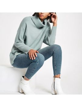 Green Oversized Roll Neck Sweater by River Island