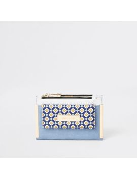 Light Blue Geo Print Mini Foldout Purse by River Island