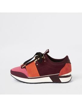 Red Elasticated Lace Up Runner Sneakers by River Island