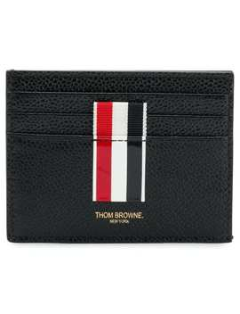 Vertical Intarsia Stripe Cardholder In Pebble Grain Leather by Thom Browne