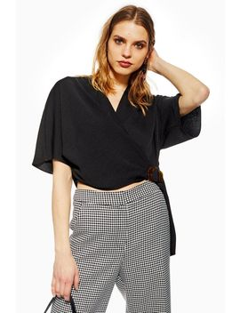 Buckle Wrap Crop Shirt by Topshop