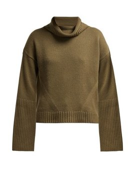 Roll Neck Ribbed Cashmere Sweater by Nili Lotan