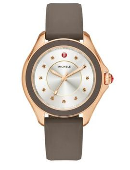 Cape Smokey Quartz, Rose Goldtone Stainless Steel & Silicone Strap Watch/Taupe by Michele