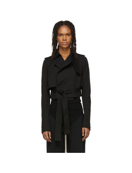 Black Short Trench Coat by Rick Owens