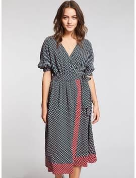 Surplice Neck Belted Dress by Shein