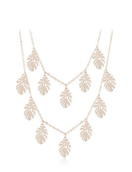 Rose Gold Palm Leaf Double Necklace by Skinnydip