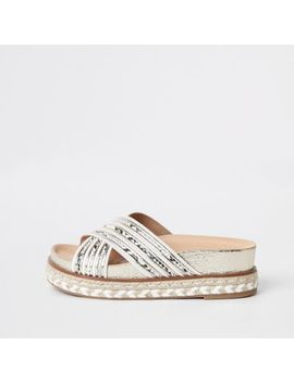 White Cross Strap Espadrille Platform Sandals by River Island
