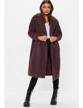Petite Wine Longline Borg Teddy Coat by Missguided