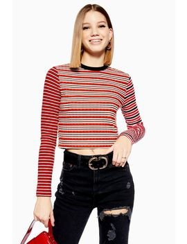 Mix Stripe Long Sleeve Top by Topshop