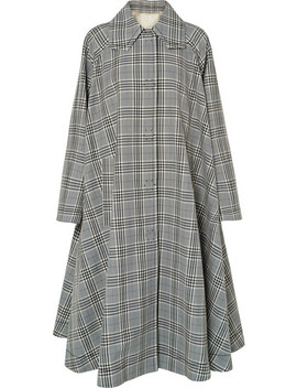 Oversized Checked Wool Blend Coat by Mm6 Maison Margiela