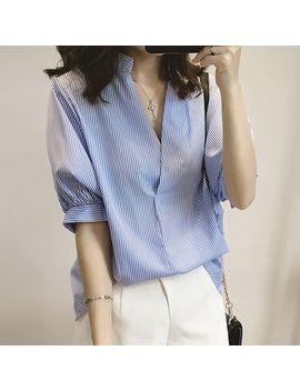 Maisu   Elbow Sleeve V Neck Striped Shirt by Maisu