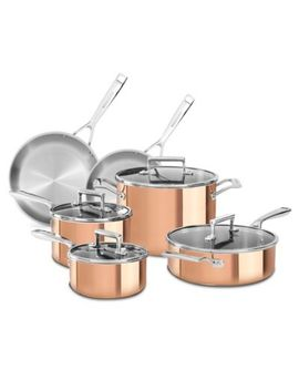 Kitchen Aid® Tri Ply Copper 10 Piece Cookware Set by Bed Bath And Beyond