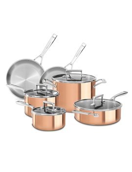 Tri Ply Copper 10 Piece Cookware Set by Kitchen Aid