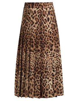 High Rise Pleated Wool Blend Midi Skirt by Dolce & Gabbana