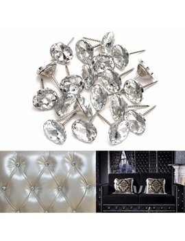 Pack Of 20 Silver And White Sparkly Crystal Upholstery Sofa Headboard Buttons Nails Tacks Studs Pins Wall Decor (Diameter:20mm) by Wedlies